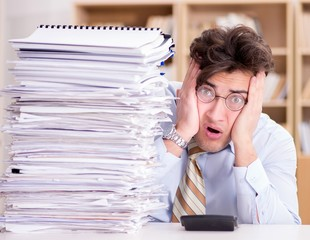 Funny accountant bookkeeper working in the office