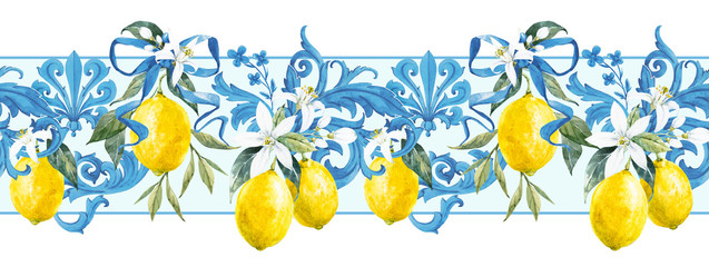 Watercolor lemon pattern