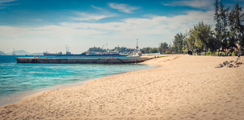 Fototapete -  Scenic beautiful view of Nha Trang beach. Panorama