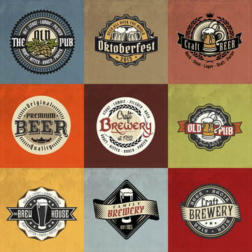Retro set styled label of beer logos on vintage paper background