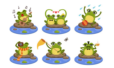 Green Funny Frog Characters Set, Cute Humanized Amphibian Animal in Different Situations Vector Illustration