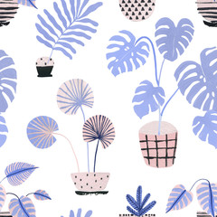 Watercolor potted houseplants background in scandinavian geometric style