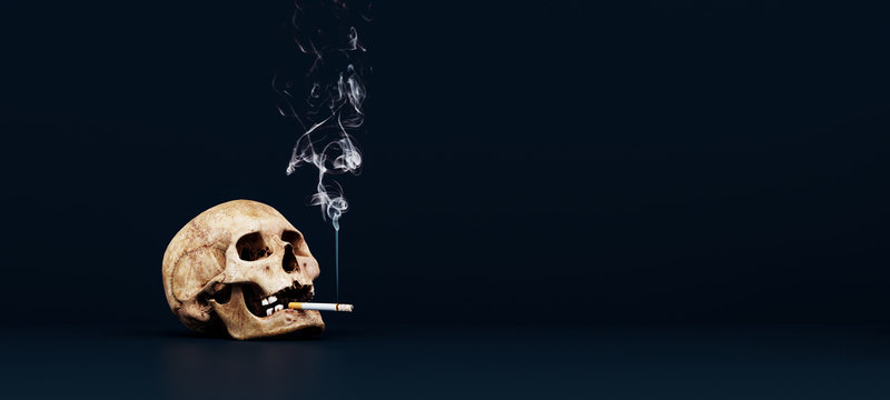Human skull with cigarette, quit smoking concept 3D Rendering