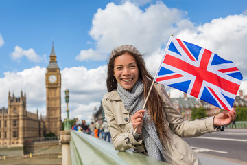 Garden Poster London London Big Ben Westminster travel tourist woman showing United Kingdom UK flag. Europe vacation destination Asian girl holding Great Britain british flag Union Jack sign.