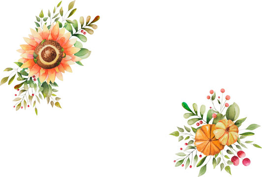 Watercolor autumn greeting card. Decorative elements with empty place. Hand drawn flowers, leaves and pumpkins on white background.