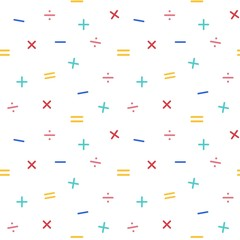 Mathematical symbols seamless pattern background, vector illustration