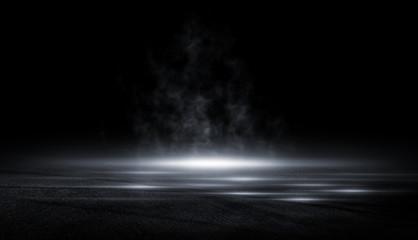 3D Rendering abstract asphalt light in dark street and smoke on black background Fotomurales