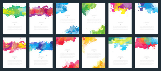 Fotobehang - Big set of bright colorful vector watercolor background for poster, brochure or flyer