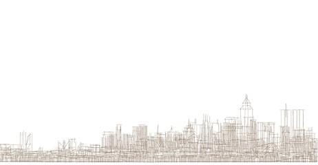 modern city panorama 3d illustration Fototapete