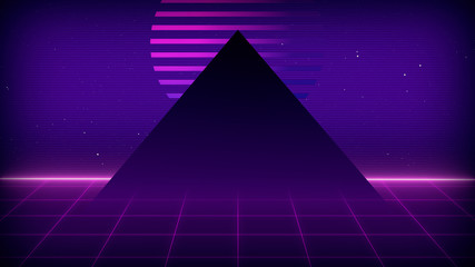 Canvas Prints Violet Future Retro Sci-Fi Background Futuristic landscape of the 80`s. Digital Cyber Surface. Suitable for design in the style of the 1980`s. 3D illustration