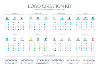 Logo template creation kit. Fonts collection. Abstract business people, finance technology, industry icon set. Nature, water, food logotype design elements. Healthcare, education, real estate concepts