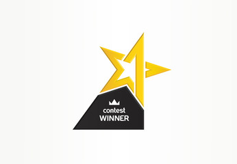 First place, contest winner, number one creative symbol concept. Award, champion abstract business logo idea. Gold star trophy icon. Corporate identity logotype, company graphic design tamplate Fototapete