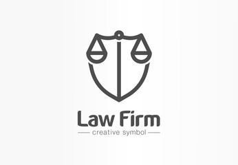 Law firm creative symbol concept. Lawyer office, legal, justice, protection abstract business logo idea. Scale and shield, attorney icon. Corporate identity logotype, company graphic design tamplate