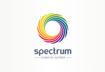 Spectrum, spiral rainbow creative symbol concept. Swirl palette, sunlight mix abstract business logo idea. Colorful circle, gradient icon. Corporate identity logotype, company graphic design tamplate Wall mural