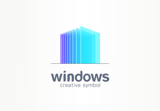 3d windows, glass creative symbol concept. Construction, architecture, real estate, abstract business logo idea. Home, build, house icon. Corporate identity logotype, company graphic design tamplate
