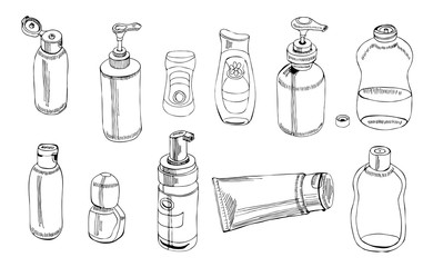 Collection of   hand drawn sketch of cosmetic package. Bottle, tube, flask. Monochrome elements isolated on white background.