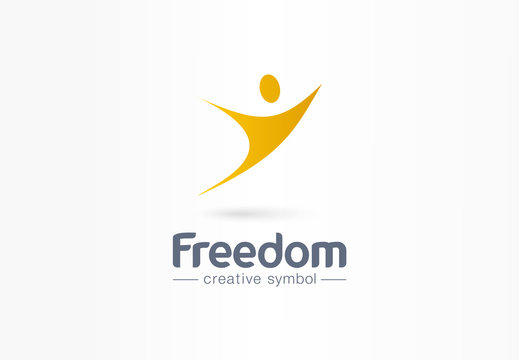 Freedom, fly, man in flight creative symbol concept. Happiness, success, win abstract business logo idea. Healthy human, happy person icon. Corporate identity logotype, company graphic design tamplate