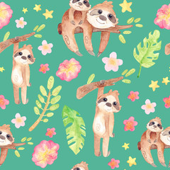 Hand painted watercolor sloths. Cartoon cute illustration. Seamless pattern with exotic tropics. On a green background