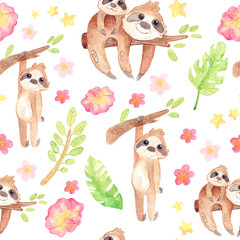 Hand painted watercolor sloths. Cartoon cute illustration. Seamless pattern with exotic tropics.