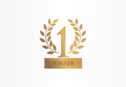 First place, number one, golden laurel wreath creative symbol concept. Trophy, cup abstract business logo idea. Award, win, winner icon. Corporate identity logotype, company graphic design tamplate