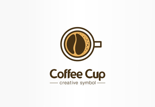 Coffee cup top view with bean shape foam creative symbol concept. Cafe menu, restaurant abstract business logo idea. Fresh espresso icon. Corporate identity logotype, company graphic design tamplate
