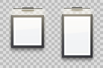 Set of Picture frames with light in gallery