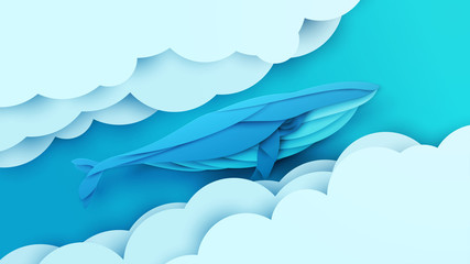 Cartoon humpback whale flying in sky with clouds. Trendy paper cut craft graphic style. Vector illustration.