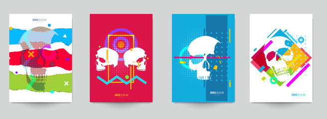 Set of creative concept with human skull head in fashion pop art style. Template background for covers, invitations, posters, banners, flyers, placards, tattoo. Colorful vector illustration.