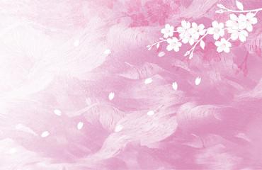Wall Mural - ピンク色の和紙を背景にした桜