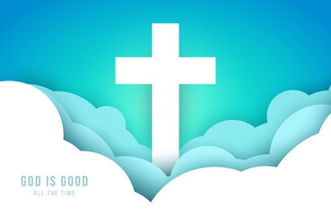 Christian cross over clouds in minimal trendy geometric paper cut style. Creative modern religious concept. Colorful vector illustration. Background for greeting card, banner, cover.