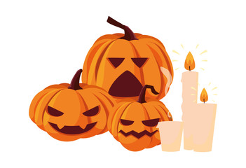 pumpkins and candles happy halloween celebration Wall mural