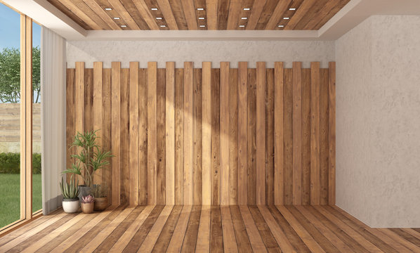 Empty room with wooden wall, floor and ceiling