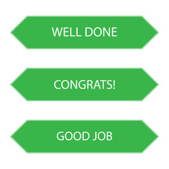 """web banners with the words """"good job"""", """"well done"""", """"congrats"""""""