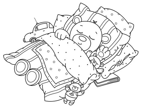 Vector cute, sleeping  baby bear in bed, black silhouettes for coloring.