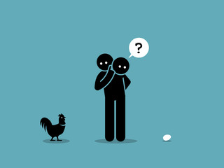 Chicken or Egg. Who come first argument. Vector artwork showing a man looking at both a chicken and an egg and wondering which came first.