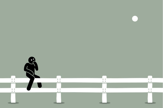 Man sitting on the fence. Vector artwork concept of undecided, indecisive, thinking, doubt, uncertain, and choosing options between two alternatives.