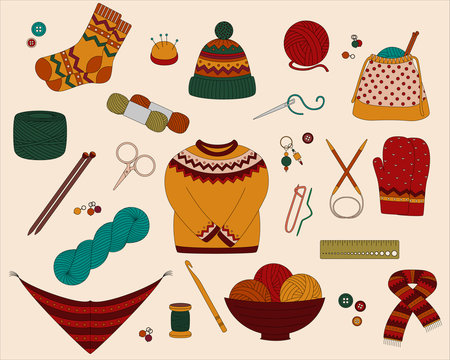 Set of vector icons for knitting and crochet (yarn, needles, socks, sweater, hook and other DIY tools)