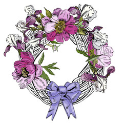 Wreath  with  flowers of peony, iris and bow. Hand drawn ink sketch. Color objects isolated on white  background.