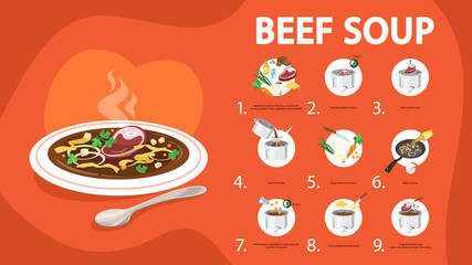 Beef soup recipe. Cooking tasty dinner at home