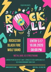 Rock and Roll Concert Retro Style Poster Template