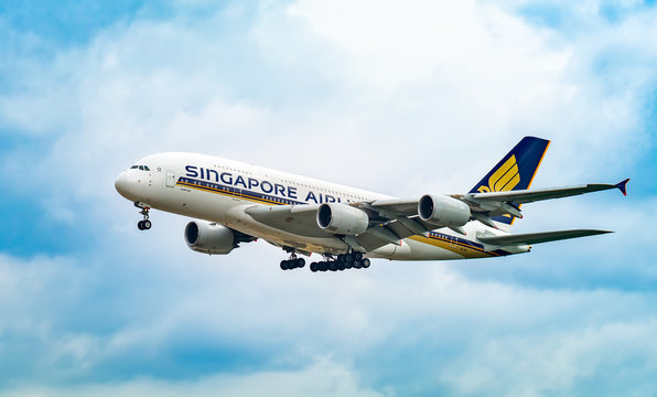 AIRPORT FRANKFURT,GERMANY: JUNE 23, 2017: Airbus A380 Singapore Airlines Limited is the flag carrier airline of Singapo re with its hub at Singapore Changi Airport.