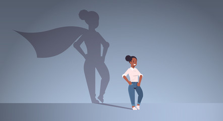 african american businesswoman dreaming about being super hero shadow of woman with cape imagination aspiration concept female cartoon character standing pose full length flat horizontal
