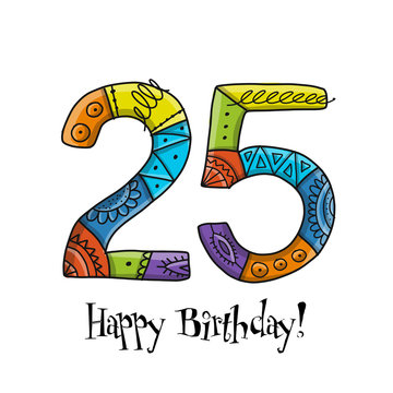 25th anniversary celebration. Greeting card template