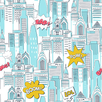 Comic book city vector cartoon seamless pattern. Vintage superhero action texture. Skyscrapers and fight bubbles decorative background. Childish wallpaper, wrapping paper, textile design