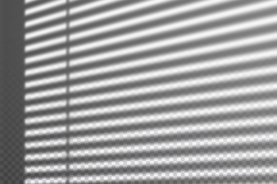 Realistic transparent drop shadow from the blinds on a wall, striped overlay effect for photo, design presentation. Vector illustration