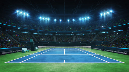 Blue tennis court and illuminated indoor arena with fans, upper front view, professional tennis sport 3d illustration background