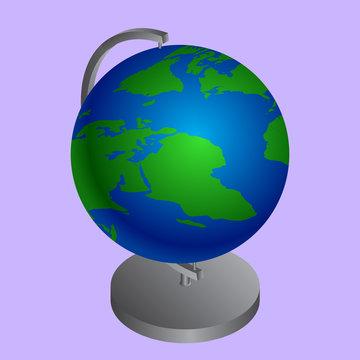 Realistic world globe stand on purple background.