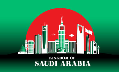 City of Jeddah Saudi Arabia Famous Buildings. Editable Vector Illustration