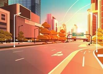 asphalt road with bike cycling lane path information banner traffic signs city skyline modern skyscrapers cityscape sunset background flat horizontal Fotomurales