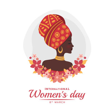 International women's day banner with african woman lady and red pink flora vector design